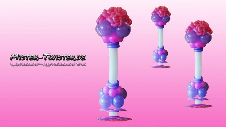 How to make a balloon rose column. Anleitung um eine Ballon Rosen Säule zu gestalten. http://mister-twister.de