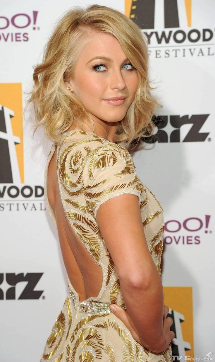 Julianne hough s short hair updo popsugar beauty - 2013 Chic Soft Wavy Hairstyle With Bangs Julianne Hough Medium Length Hairstyle