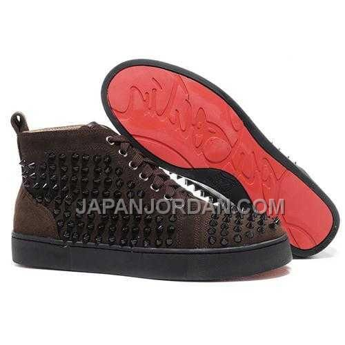 www.japanjordan.c... 割引販売 CHRISTIAN LOUBOUTIN LOUIS SPIKES HIGH TOP SNEAKERS CHOCOLATE Only ¥15,364 , Free Shipping!