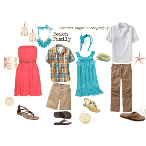 summer beach family session wardrobe, what to wear, coral & aqua