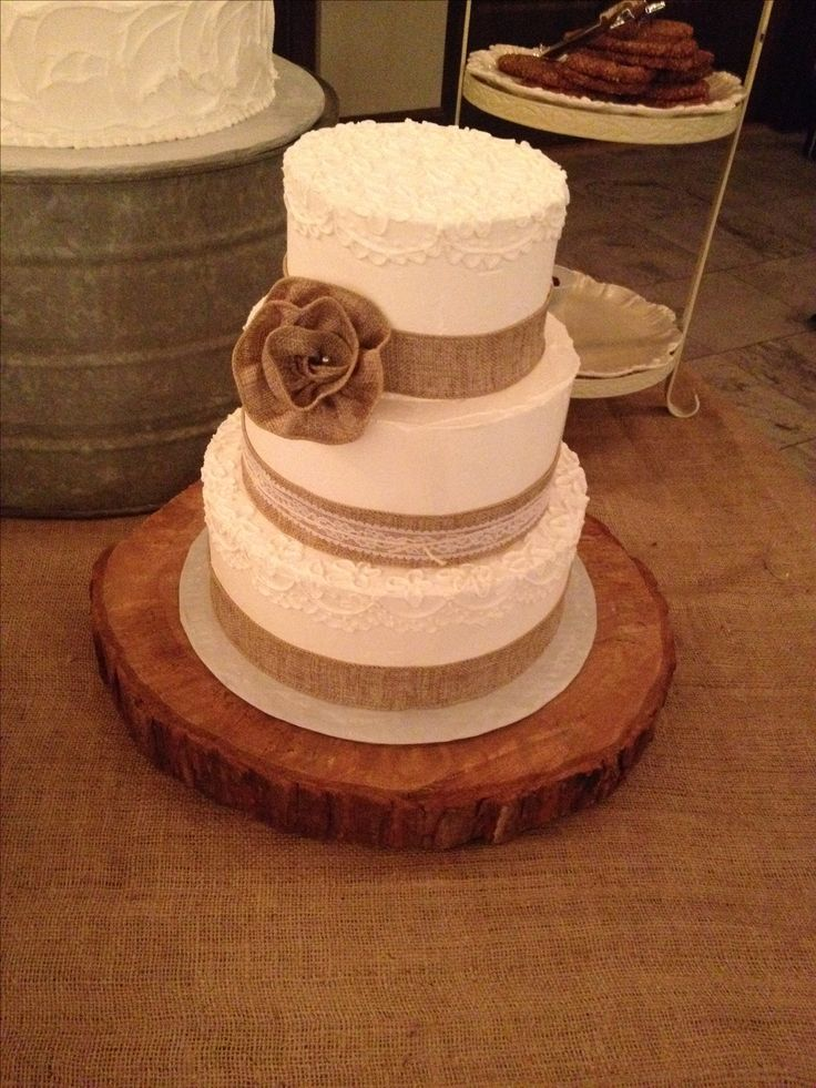 Burlap Rustic Romance Wedding Cake Country Wedding Rural Wedding Vintage Inspired Lace Piping