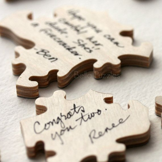 Puzzle Guest Book Alternative Idea: It would be so easy to get a puzzle, spray paint both sides & do this!  What a great idea