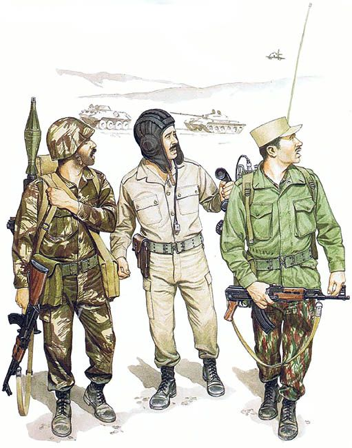 • Syrian commando, 1 st Cdo. Gp.; Beka'a Valley, July 1982  • Syrian T-72 tank crewman; Beka'a Valley, June 1982  • Syrian commando, 85th Bde.; Beirut, 1982  Ronald Volstad