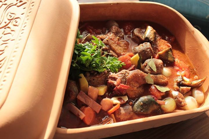Our Roman styled dinner in a  clay pot