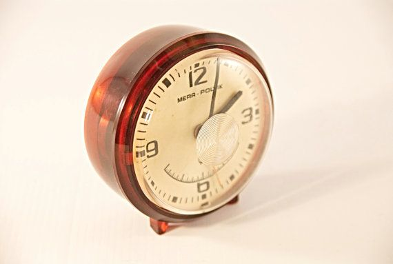 Vintage alarm clock old alarm clock red mechanical clock