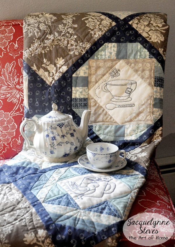 Cozy Afternoon Embroidered Teacup & Teapot Quilt- Free pattern! Also has options for applique or just piecing the blocks. Designed by Jacquelynne Steves.