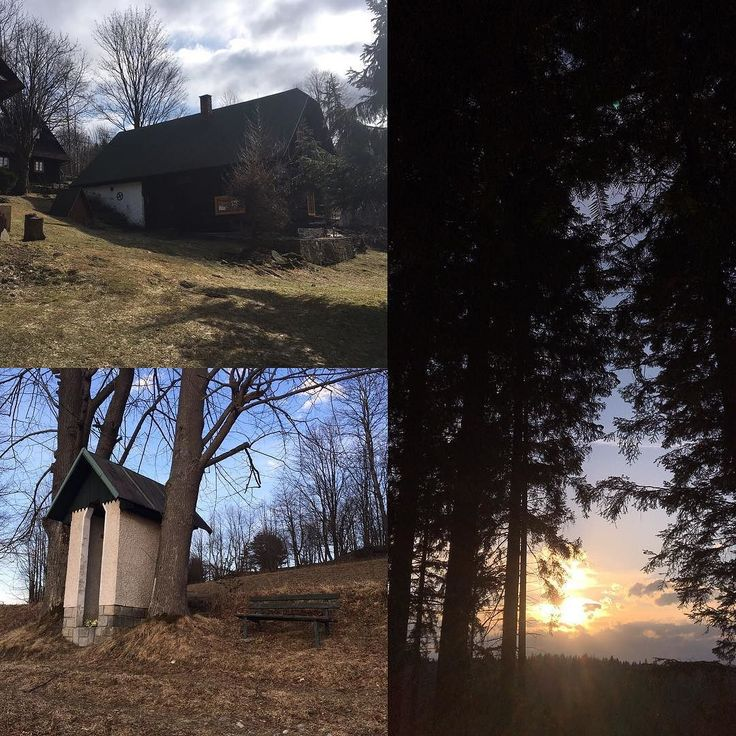 Cottage life  ___ #europe #slovakia #zakopcie #travel #tourism #cottage #sunset #chapel #green #nature #trees #kysuce #sky #blue #collage #sun #dusk #shadow #light