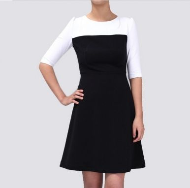 Western Newly Delicate Black White Color Half Sleeve Slim Dress