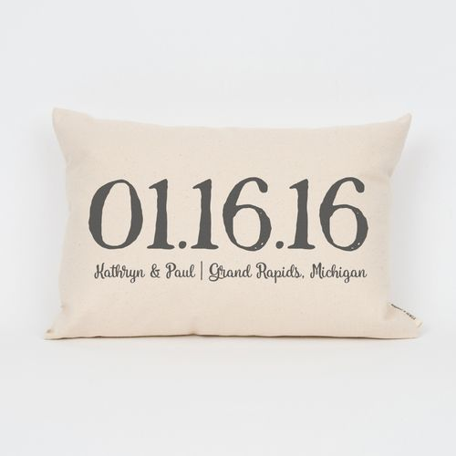 Anniversary gift idea | Personalized Wedding Date Pillow from Finch and Cotter