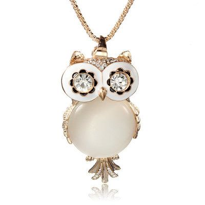 Opal Owl Crystal Rhinestone Gemstone Necklace Sweater Chain