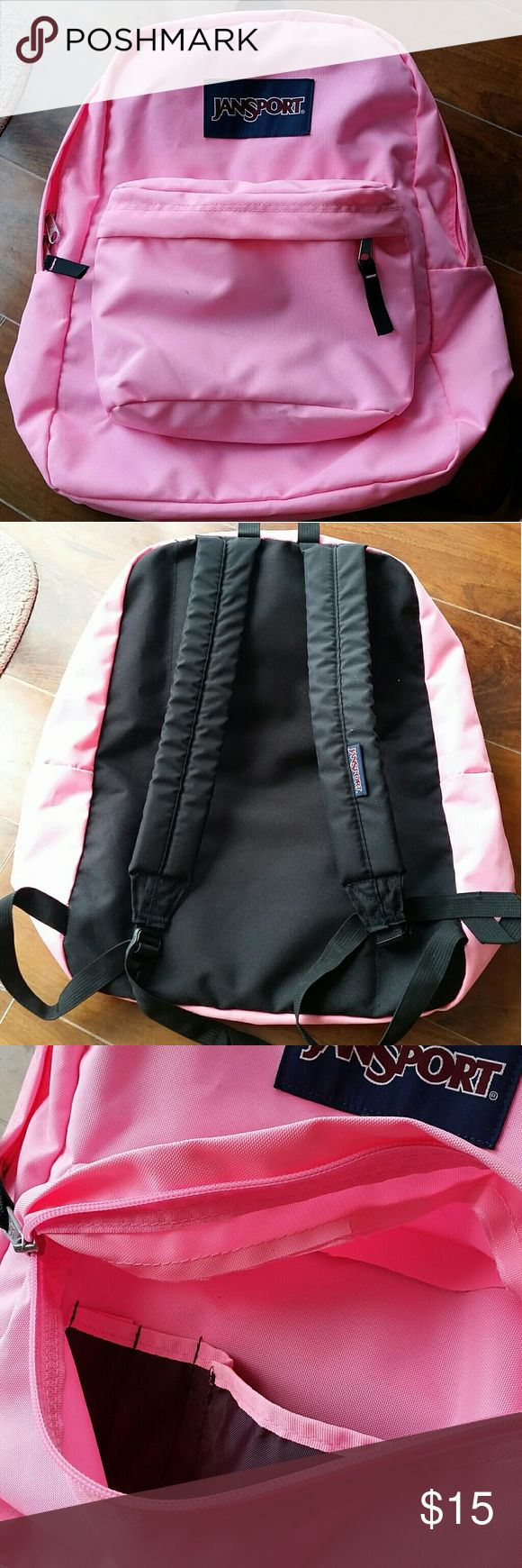 Pink Jansport backpack A very pink Jansport bag. Gently used, so has some scruff marks around the bag as pictured. Probably will wash off, have not tried. Bag itself is not that worn and still looks great. Jansport Bags Backpacks