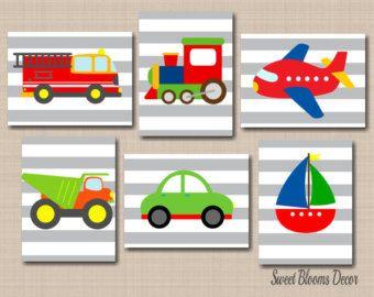 Transporte pared arte, arte de pared de camiones, juegos de pared arte, transporte vivero Decor, coches aviones trenes Trcuks pared 6 sin enmarcar arte C296