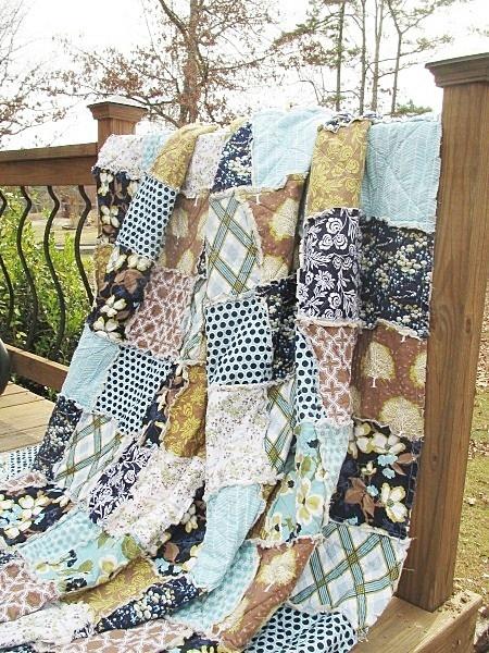 King Size Quilt, Rag, Modern Meadow, Navy Light Blue Brown
