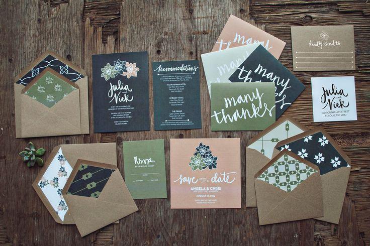 Natural Beauty Wedding invitation Suite. $250.00, via Etsy.