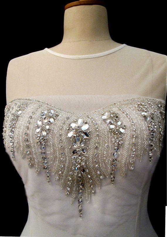 Crystal Rhinestone Applique for Sweetheart Neckline by gebridal