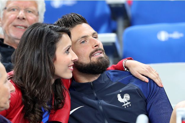Jennifer,wife of France's Olivier Giroud celebrates with him after victory over Iceland at Euro 2016
