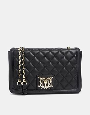 Love Moschino Quilted Across Body Bag with Metal Trim
