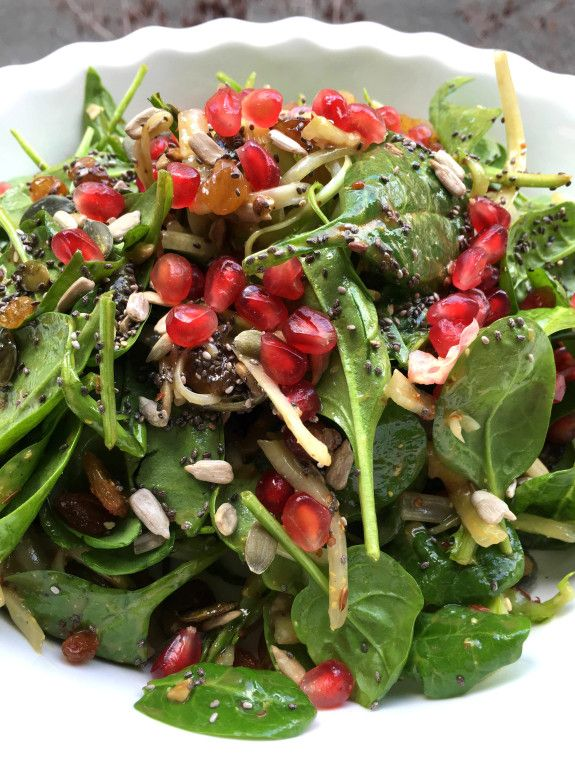 Baby Spinach & Puntarelle Salad with Pomegranite