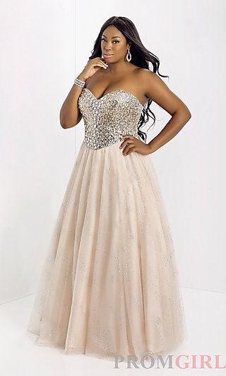 Long Strapless Plus Size Evening Gown at PromGirl.com