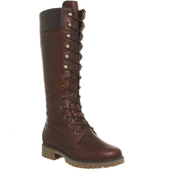 Timberland 14 Inch Premium Boots ($230) ❤ liked on Polyvore featuring shoes, boots, dark brown forty leather, knee boots, women, knee-high lace-up boots, waterproof boots, leather upper boots, knee high leather lace up boots and water proof boots