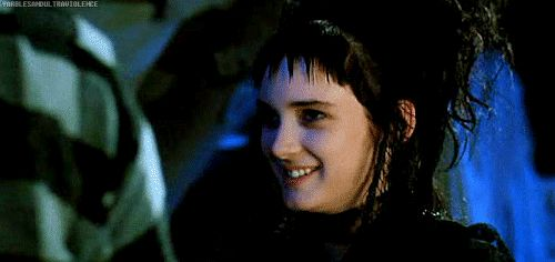 """Step 9: Never EVER smile. Unless you're in the presence of the undead, and then it's fine.   How To Be Your Best Goth Self, As Told By Lydia From """"Beetlejuice"""""""