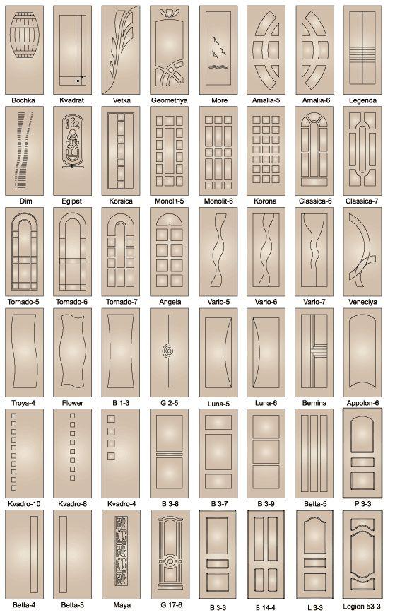 Накладки на двери из МДФ и ламината. Дверные панели.