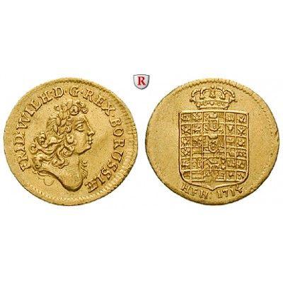 Brandenburg-Preussen, Königreich Preussen, Friedrich Wilhelm I., 1/2 Dukat 1714, vz/ss-vz: Friedrich Wilhelm I. 1713-1740. 1/2 Dukat… #coins