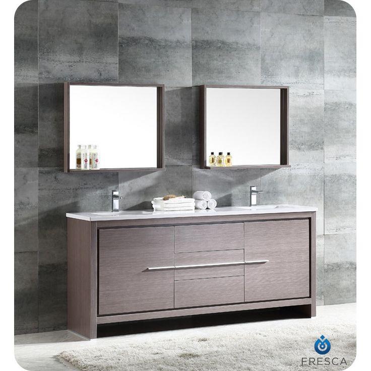 Pictures In Gallery Fresca Trieste Allier Double Modern Sink Bathroom Vanity Set with Mirror