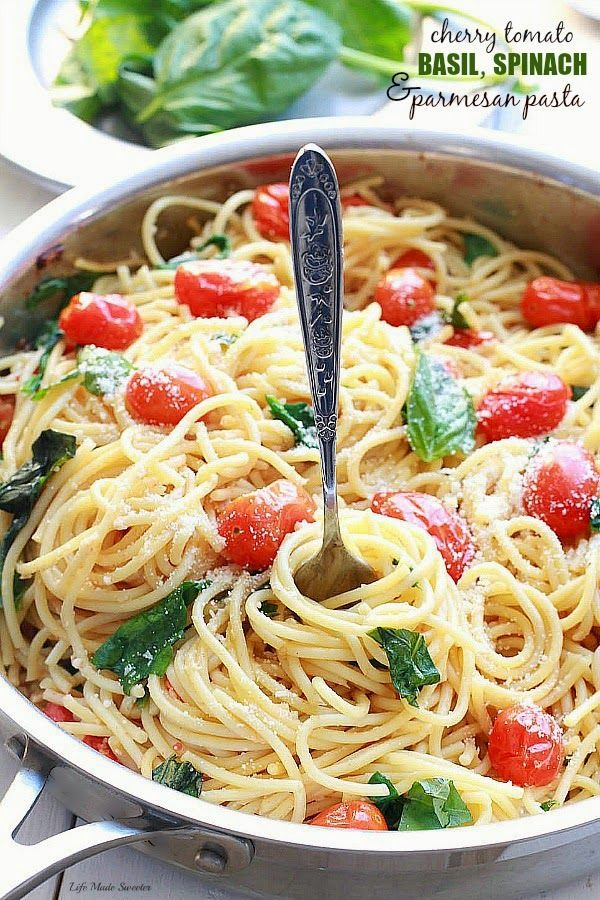 30 Minute Pasta - Cherry Tomato, Basil, Spinach and Parmesan Pasta - An easy and delicious meatless weeknight meal that comes together quickly with fresh basil, cherry tomatoes, baby spinach, Parmesan and pasta. Made win just one pan with cooked pasta.