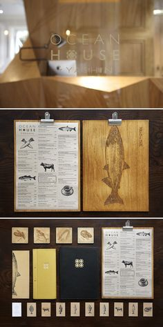 Yashin Ocean House Restaurant #branding #design #logo #menu wood clip board, business card, coaster