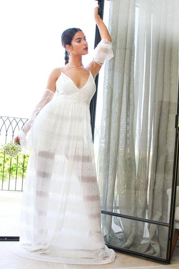 575d389d0da A boho off-white-ivory maxi wedding dress