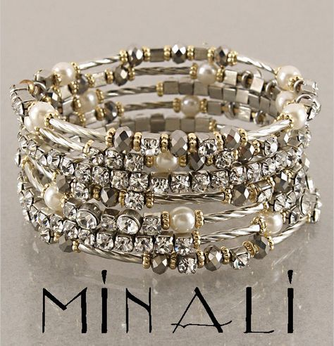 """Coco - For my love of Chanel Stunning pearl,smokey topaz,gold and silver spiral wrap bracelet. 1.5"""" tall."""
