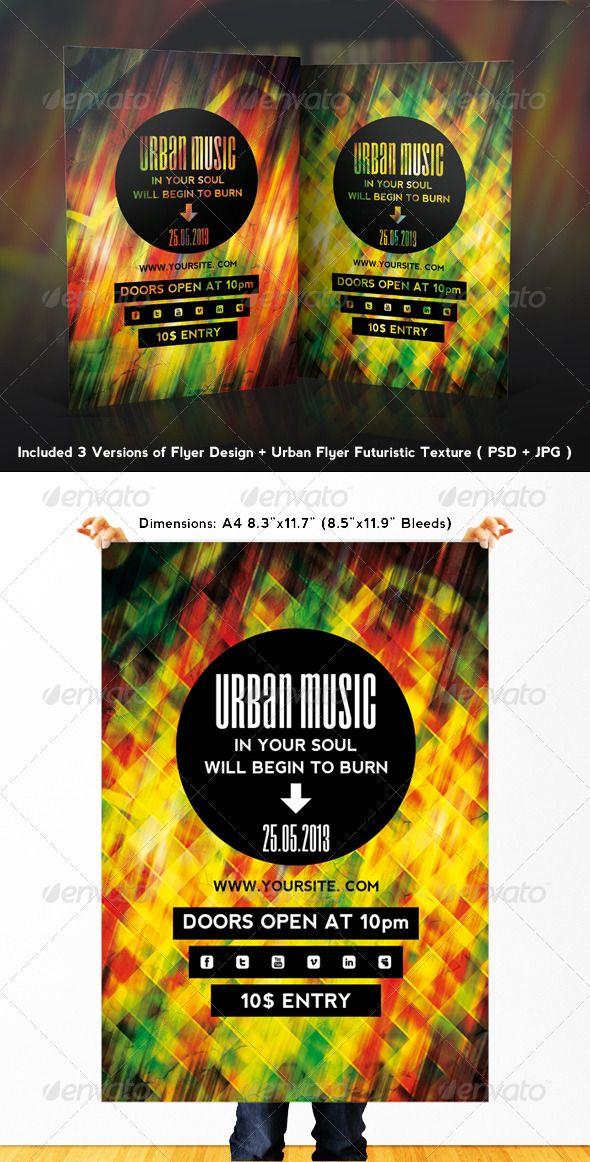 Urban Music Flyer - This flyer was designed to promote an Alternative / Indie Rock / Garage / Underground music event, such as a gig, concert, festival, party or weekly event in a music club and other kind of special evenings.