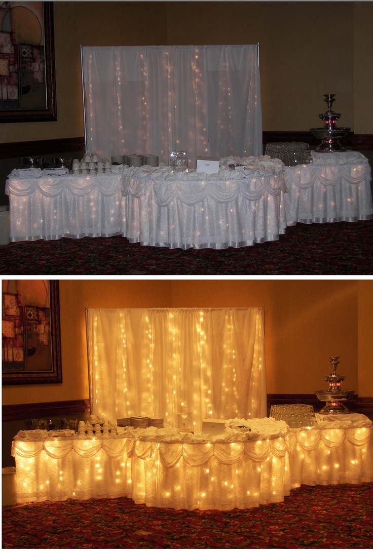 Cake table decor for purchase through Holiday Inn. This creates an amazing focal point for your cake and looks great in pictures!