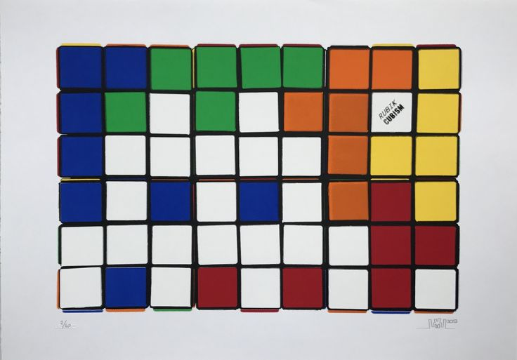 INVADER - Rubik - Six Cubes (orange/yellow) - 2009-10 - Screenprint - 27 x 19 5/8 in. - Edition of 20 - Pencil signed, dated and numbered - Contact us at info@gsfineart.com or call us at 305-456-5478