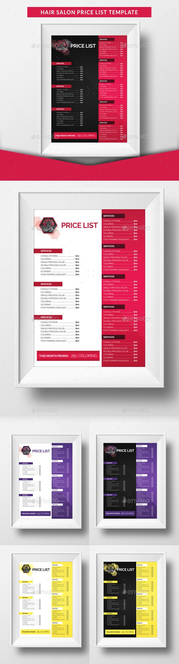 Hair Salon Price List Template — Photoshop PSD #golden #business • Available here → https://graphicriver.net/item/hair-salon-price-list-template/15553215?ref=pxcr