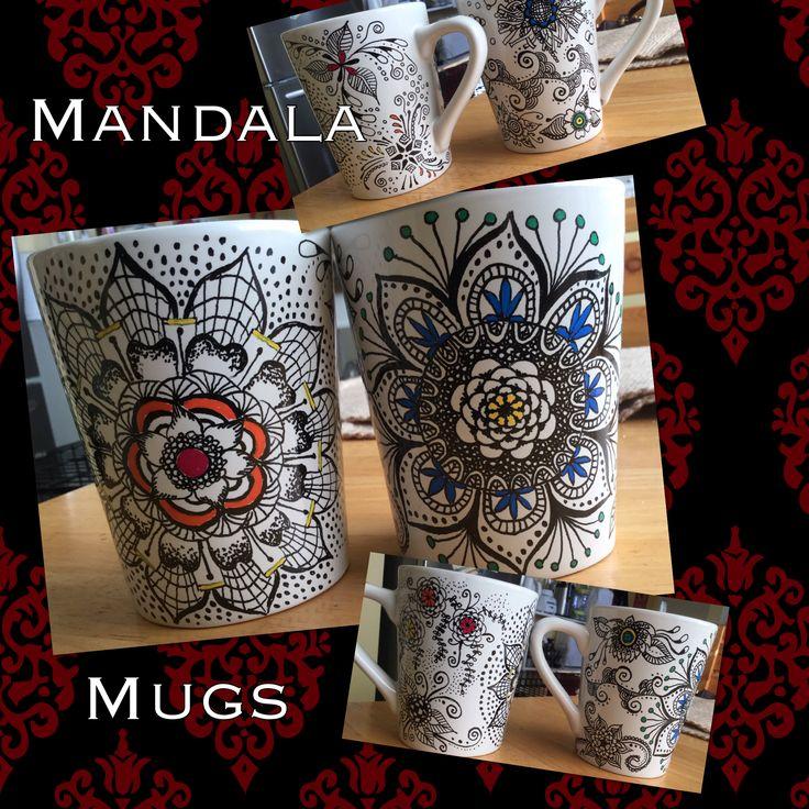 Zentangle sharpie mandala mugs