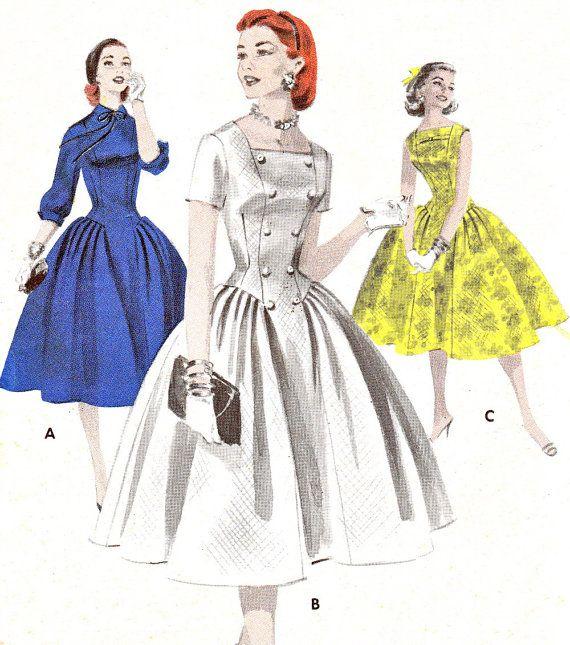 Vintage jaren 1950 Butterick 7708 lange lijn jurk heeft gladde voorpaneel, een rok ongeperst plooien op hipline terechtkomen. View A hieronder elleboog, volledige mouwen. Weergave B kwadraat hals, korte mouwen, knop trim. Weergave C boog aan de hals, zonder mouwen.  * Grootte 32 14-buste, taille 26, hip 35 *  Envelop uiteenvalt. Patroon is netjes gesneden en compleet.  Als u wilt bekijken gelieve meer patronen uit dit tijdperk http://www.etsy.com/shop/paneenjerez?section_id=5814661  Als u…