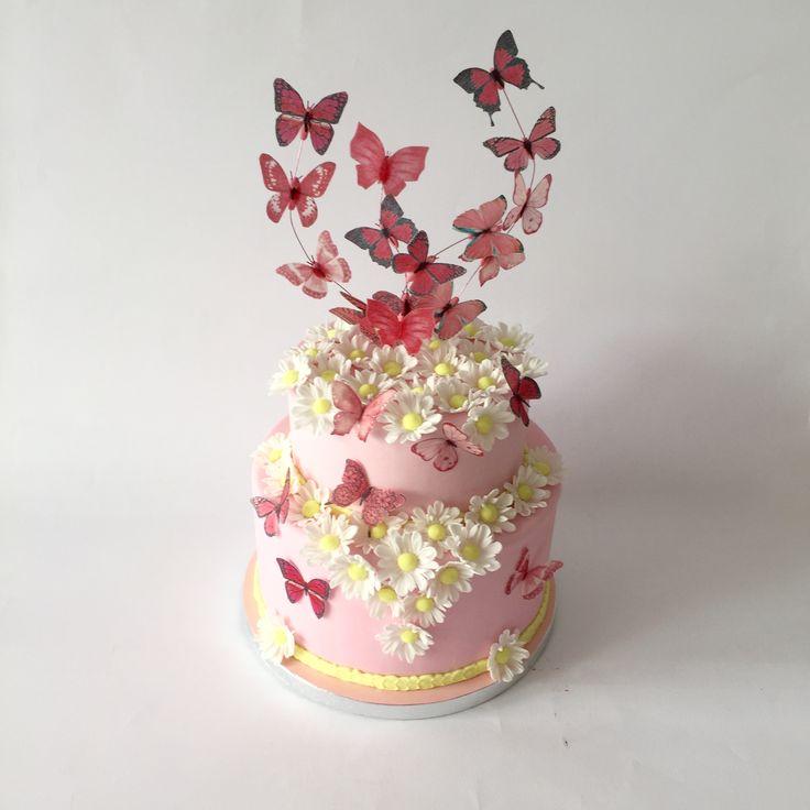 Butterfly Wafers Cake Decoration : torta comunione con farfalle in wafer paper e margherite ...