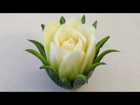 The Zucchini Cactus Rose Flower - Advanced Lesson 16 By Mutita Art Of Fruit And Vegetable Carving - YouTube - TUTORIAL