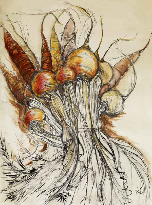 Natasha Clutterbuck's Golden Beetroot and Purple Carrot. Oh my, takes my breath away!