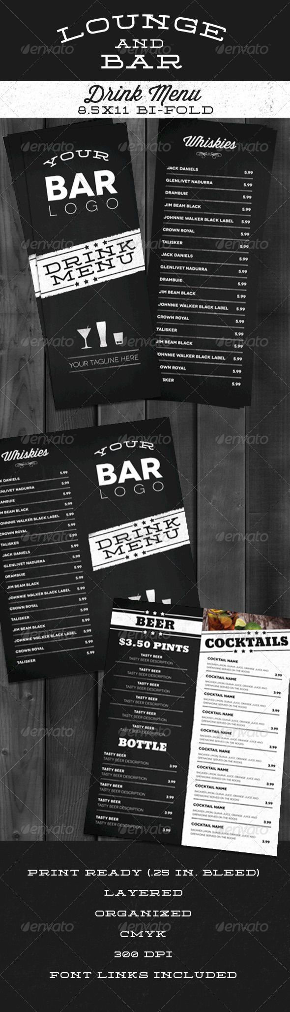 Bar Menu on liquor display ideas