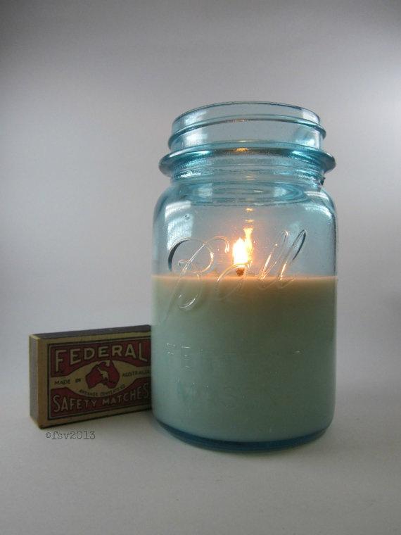Soy wax Candle in Vintage Blue Mason Jar. $75.00, via Etsy.
