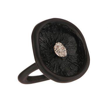 Δαχτυλίδι Huffy ασημένιο μανιτάρι με μαύρο πλατίνωμα και στο κέντρο διακοσμημένο με διαμάντια | Δαχτυλίδια HUFFY ΤΣΑΛΔΑΡΗΣ στο Χαλάνδρι #δαχτυλιδι #huffy #ροζ #μαυρο #διαμαντια