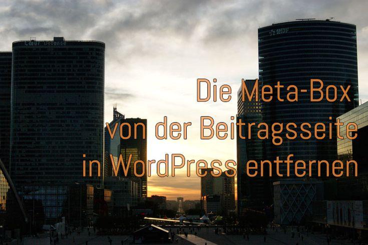 Die Meta-Box von der Beitragsseite in WordPress entfernen - Guru 2.0