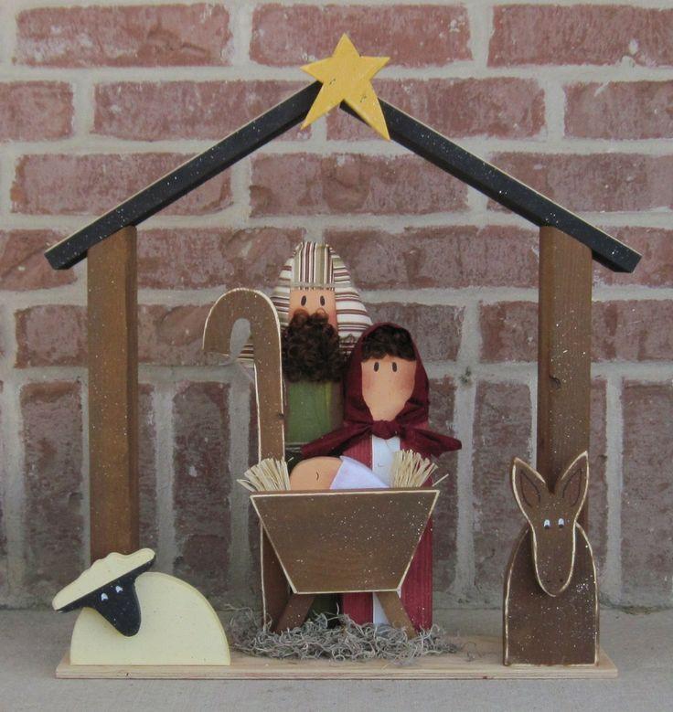 LARGE WOOD NATIVITY for Christmas, holiday, Noel, baby jesus, donkey and home decor. $48.95, via Etsy.