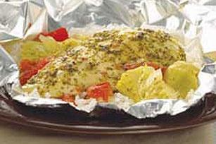 Foil Packed Chicken & Artichoke Dinner: Food Drinks Recipes, Artichokes, Pack Recipes, Dinners, Artichoke Dinner