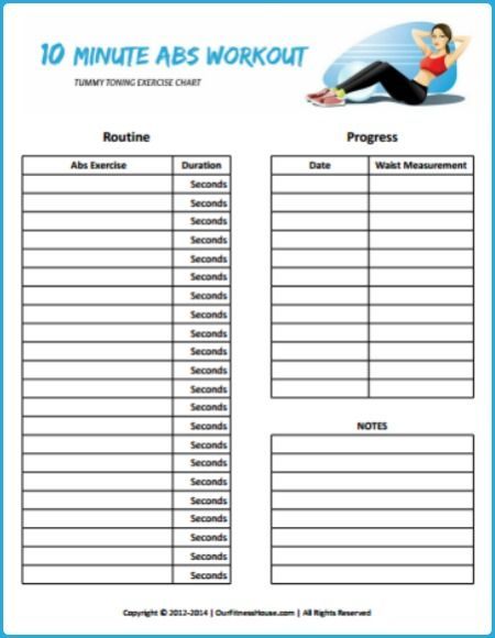 Customize Your Own 10 Minute Abs Workout Routine At Home And Track Your Progress With This Free