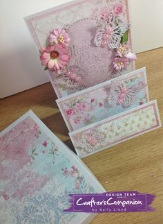 Stepper card and gift box for Mother's Day made using Sara Signature Shabby Chic Collection – Designed by Kelly Lloyd #crafterscompanion