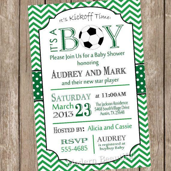 Chevron soccer baby shower invitation soccer by ModernBeautiful, $13.00